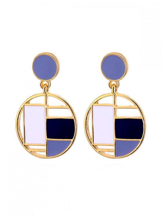 best Color Block Round Drop Earrings - MULTI-B