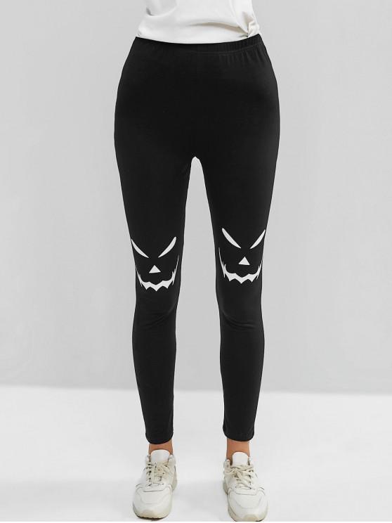 hot Scary Face Print Skinny Leggings - BLACK S