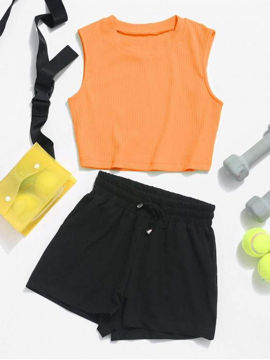 ZAFUL Ribbed Crop Top and Drawstring Shorts Set - Cor de Laranja de Mango L