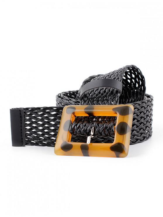 Cinturón de hebilla de punto cuadrado de trenza - Negro