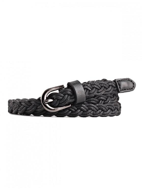 trendy Braid Pin Buckle Dress Belt - BLACK
