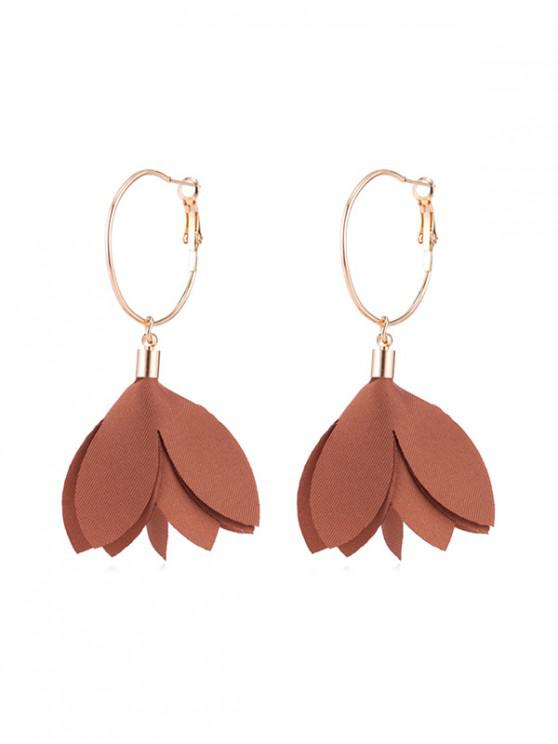 chic Floral Decoration Dangle Earrings - KHAKI