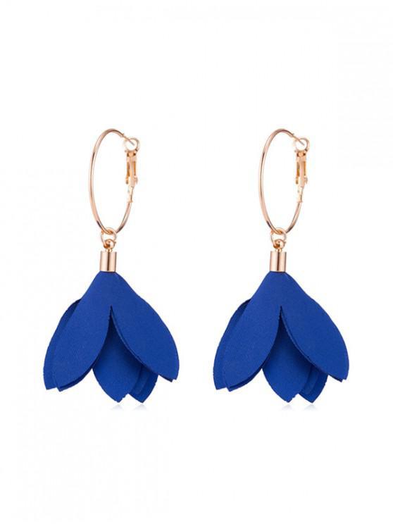 fancy Floral Decoration Dangle Earrings - COBALT BLUE