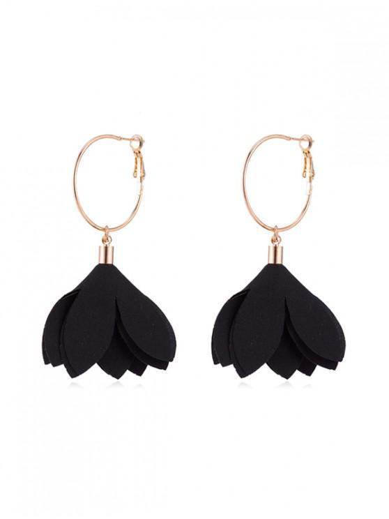 unique Floral Decoration Dangle Earrings - BLACK