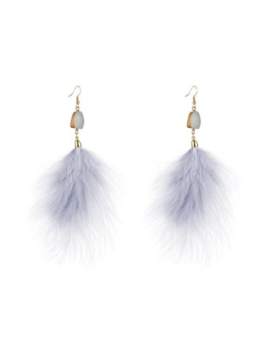 Pendientes de gancho de pluma de imitación de la gema - Blanco