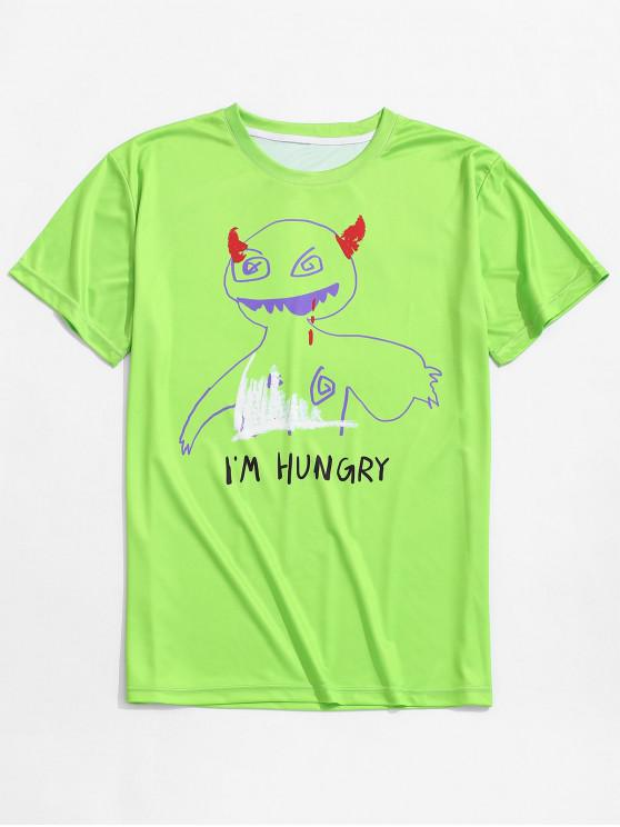 outfit Devil Letters Print Casual Neon T-shirt - YELLOW GREEN M