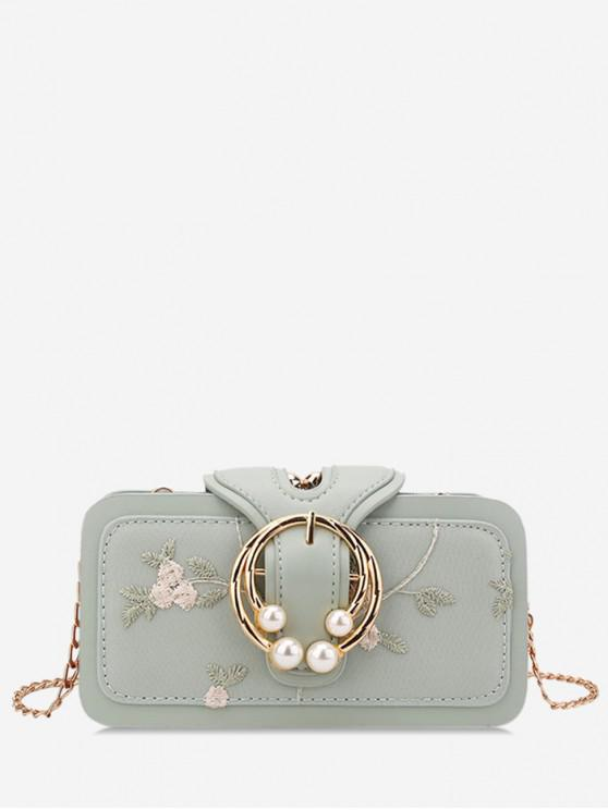 women's Summer Embroidered Chain Shoulder Bag - MINT GREEN