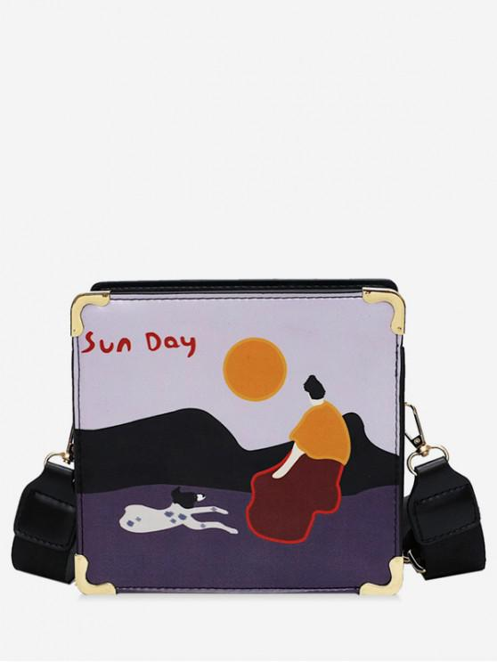 hot Stylish Wide Strap Print Shoulder Bag - PURPLE