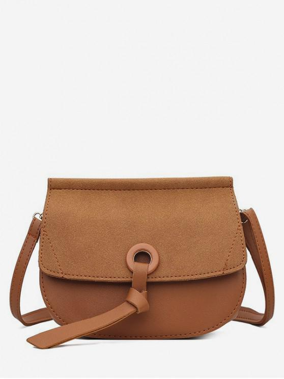 outfit Saddle Shape Matte Crossbody Shoulder Bag - LIGHT BROWN