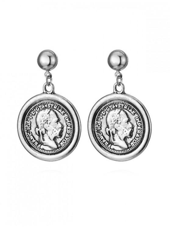 outfits Retro Portrait Coin Earrings - SILVER