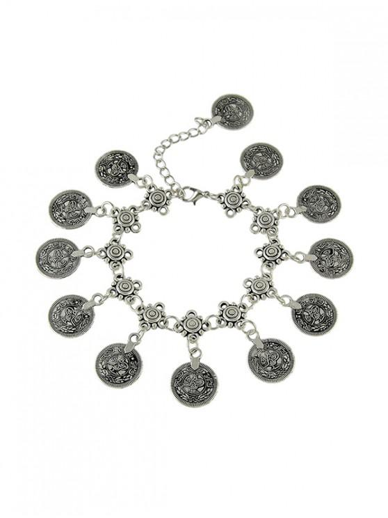 trendy Retro Hollow Coin Charm Anklet - SILVER