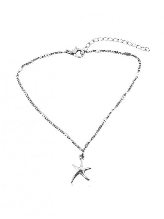 chic Brief Starfish Small Pendant Anklet - SILVER