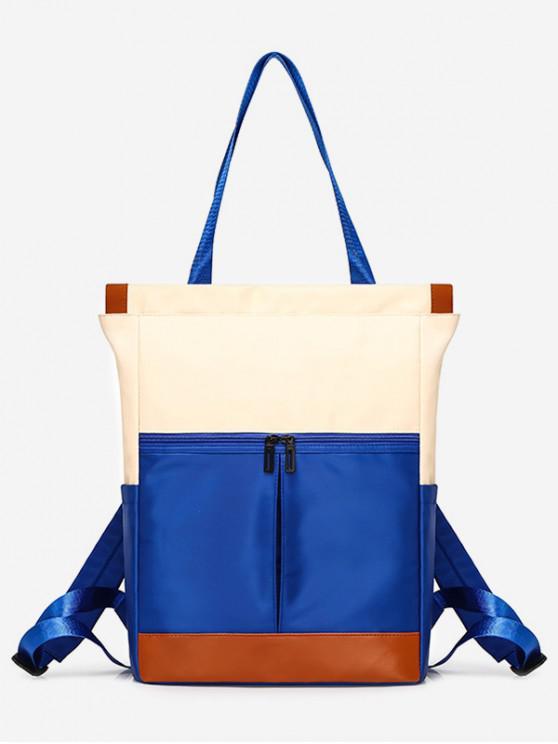 Totalizador de bolsillos cuadrados grandes de nylon elegante - Azul