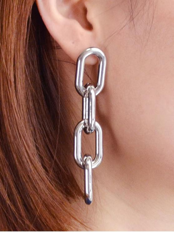 buy Punk Personality Thick Chain Earrings - SILVER