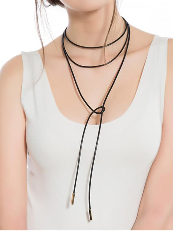 womens Simple Long Rope Multilayer Necklace - BLACK