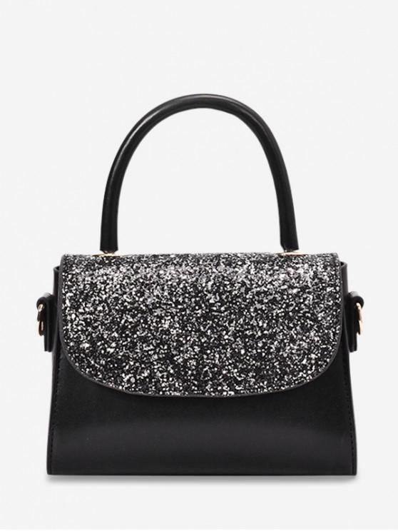 shop Summer Paillette Square Shoulder Bag - BLACK
