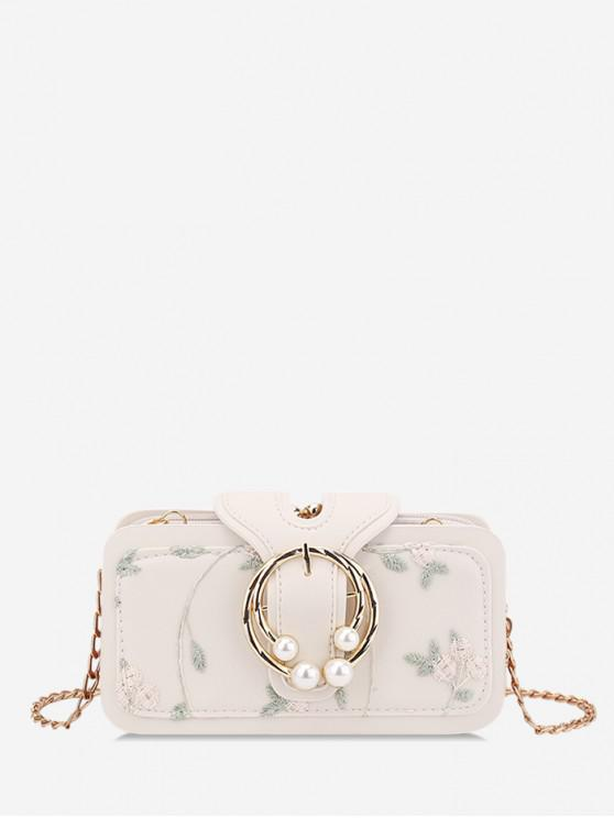 fancy Summer Embroidered Chain Shoulder Bag - WHITE