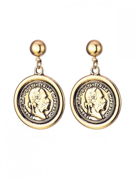 online Retro Portrait Coin Earrings - GOLD