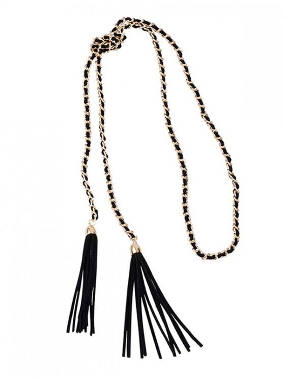 new Fringed Sweater Chain Long Necklace - BLACK