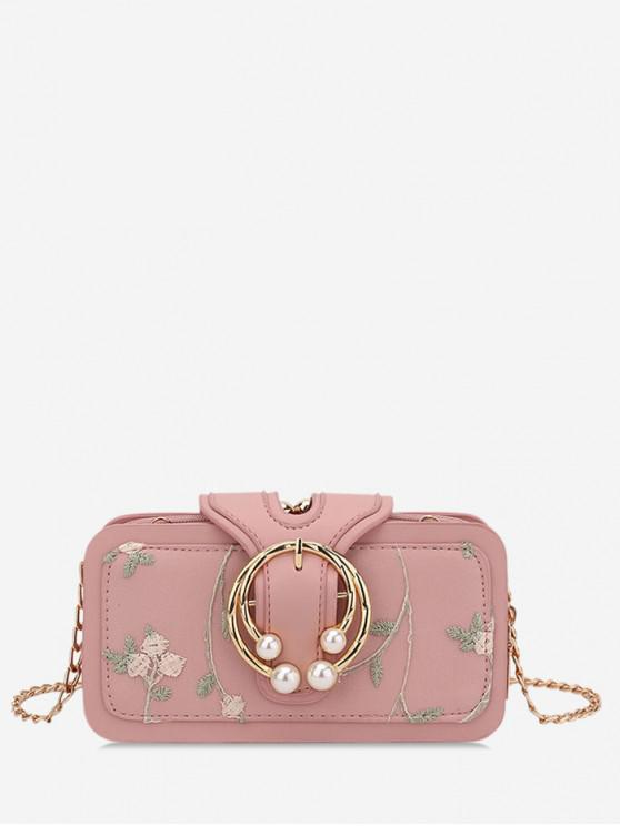 hot Summer Embroidered Chain Shoulder Bag - PINK