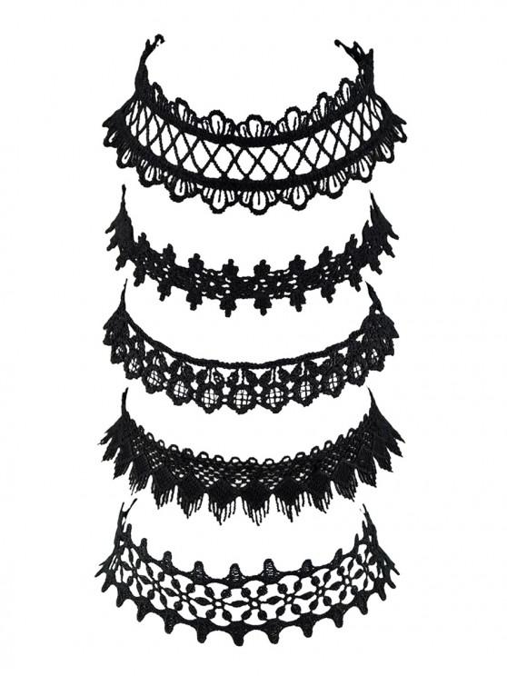 fancy Wide Lace Choker Necklace Set - BLACK