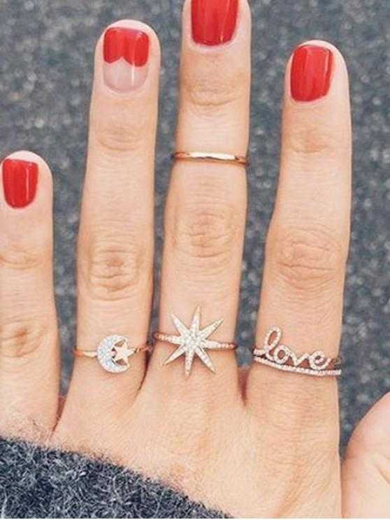 sale Full Rhinestone Star Moon Ring Set - GOLD