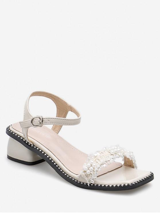 Sandalias de tacón medio rotos de perlas de imitación - Blanco EU 38
