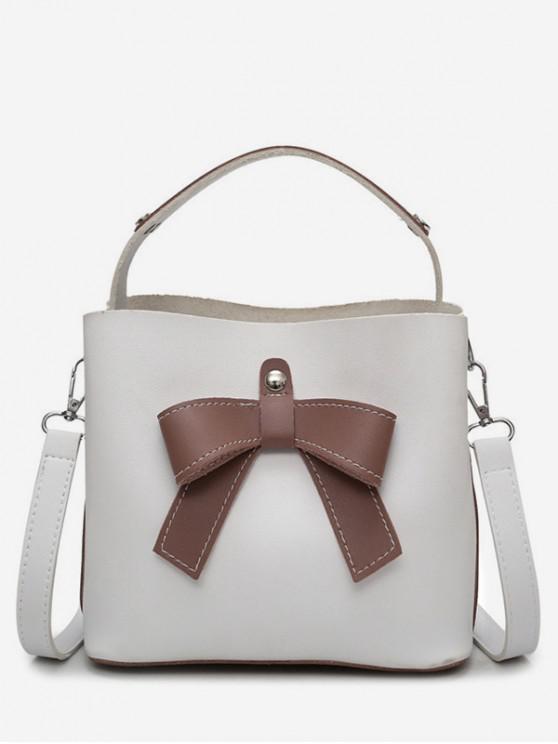 shops Bowknot Design Bucket Handbag - WHITE