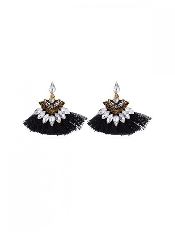 shops Hollow Faux Gem Tassel Earrings - BLACK