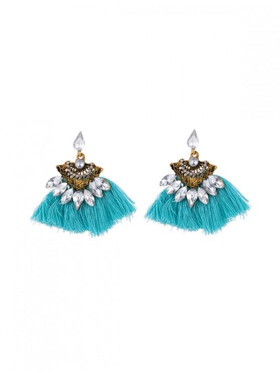 Pendientes de la borla de la gema de imitación hueca - Azul Tron