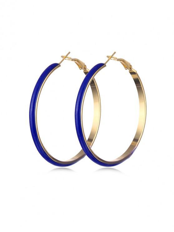 women Colored Glazed Hoop Earrings - BLUEBERRY BLUE