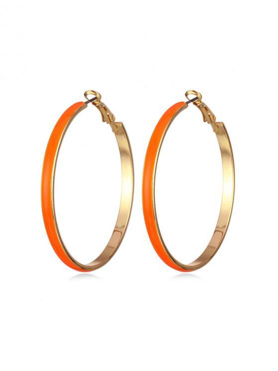 chic Colored Glazed Hoop Earrings - TANGERINE