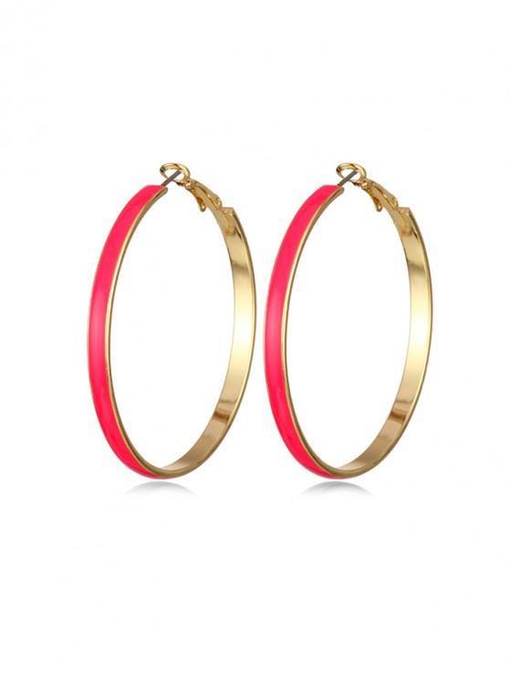 trendy Colored Glazed Hoop Earrings - RED