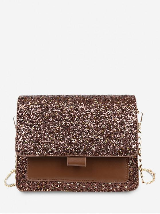 outfit Sequins PU Chain Sparkle Square Crossbody Bag - BLOOD RED