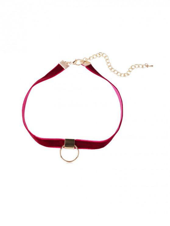 outfit Circle Velvet Choker Necklace - RED WINE
