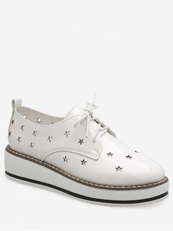 best Hollowed Star Breathable Shoes - WHITE EU 38