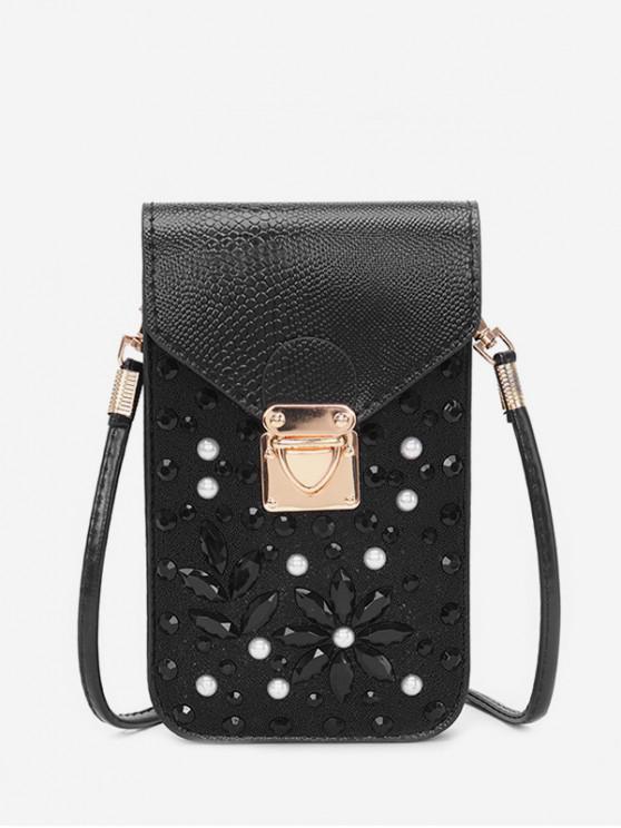 fashion Rhinestone Cellphone Crossbody Bag - BLACK