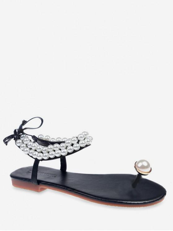 women's Toe Loop Faux Pearl Flat Sandals - BLACK EU 35
