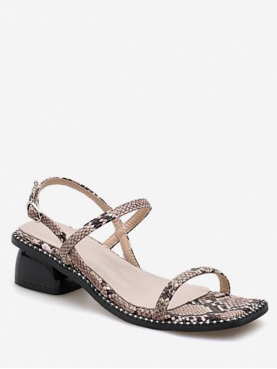 e9e83e68d349 39% OFF   NEW  2019 Square Toe Snake Mid Heel Sandals In BLACK