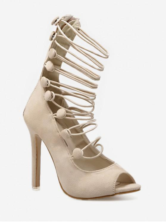 latest Peep Toe Tall Gladiator Sandals - APRICOT EU 38