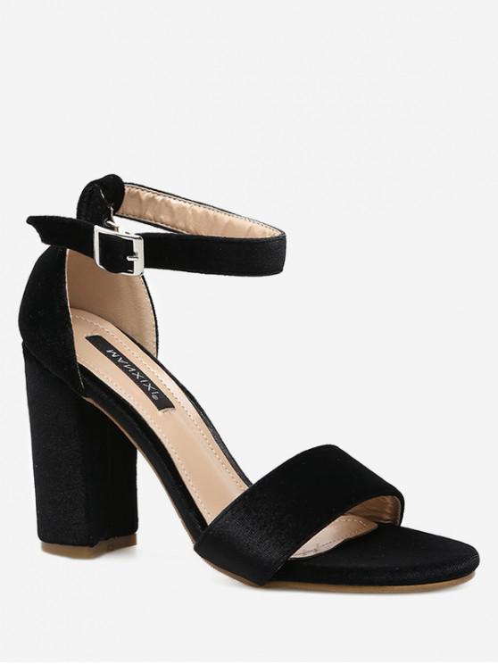 fancy Buckle High Heel Sandals - BLACK EU 39