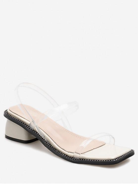 Sandalias de PVC con punta cuadrada simple - Blanco EU 36