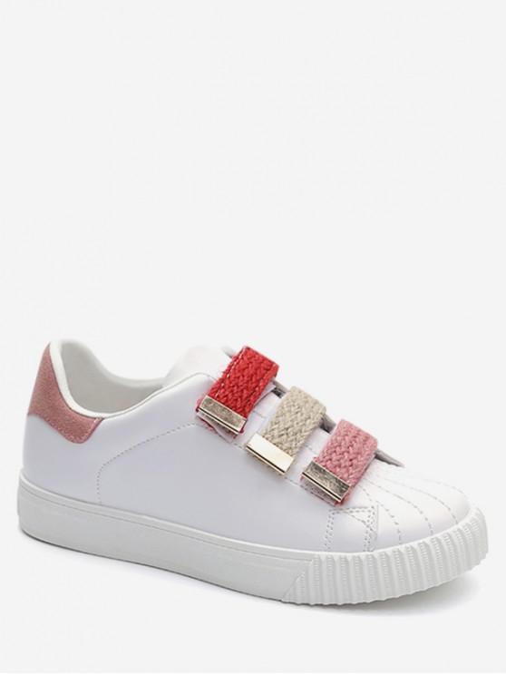 outfits Colored Hook And Loop Flat Sneakers - LIGHT PINK EU 37