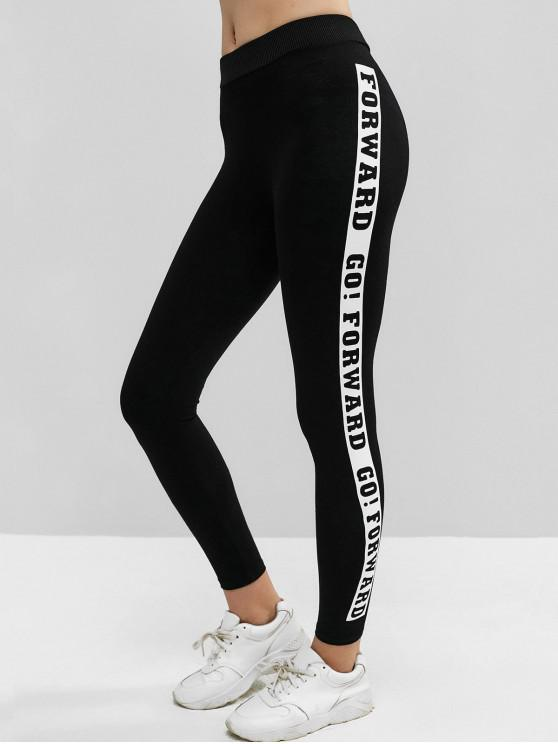 lady Letter Graphic Gym Leggings - BLACK L