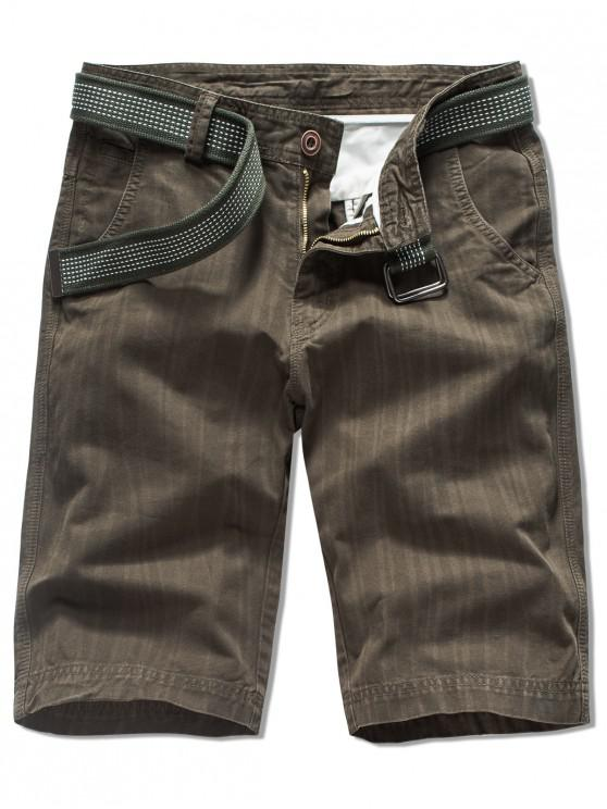 lady Zipper Fly Solid Color Casual Shorts - COFFEE 38