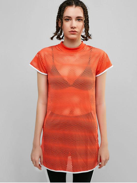 buy Perforated Contrast Piping Slit T-shirt - DARK ORANGE XL