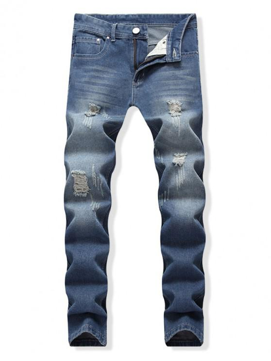 outfit Destroy Wash Long Straight Denim Pants - BLUE 34