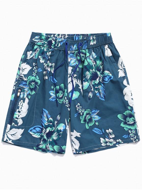 hot Flower Print Board Shorts - SILK BLUE L