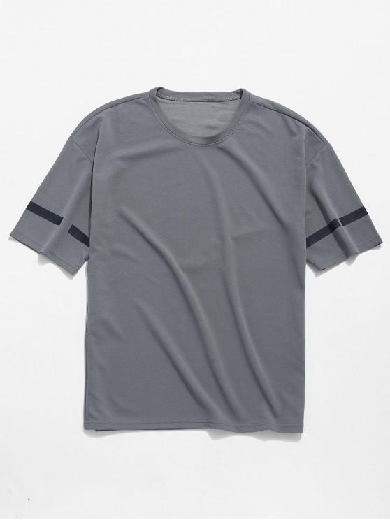 outfit Flowers Letters Print Drop Shoulder T-shirt - GRAY CLOUD XL