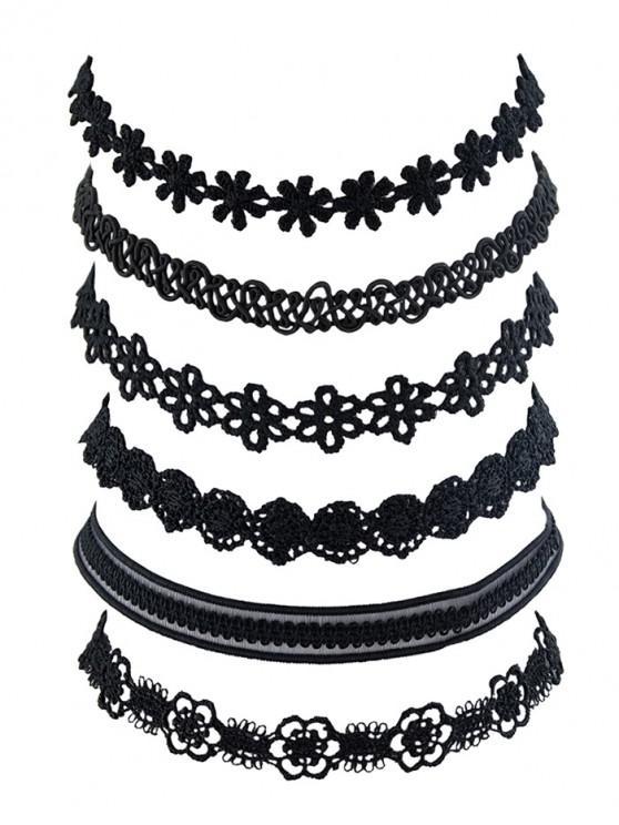 chic 6 Piece Floral Lace Choker Necklace Set - BLACK